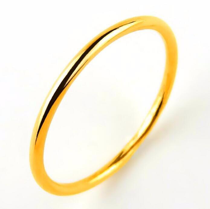 Bague en or jaune 24K femme | Petit bracelet de bagues, à la mode, authentique