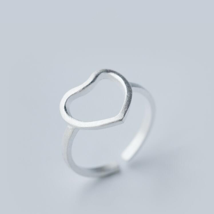 Sterling Silver Jewelry Open Heart Rings for Women Adjustable Simple Heart Rings Gift