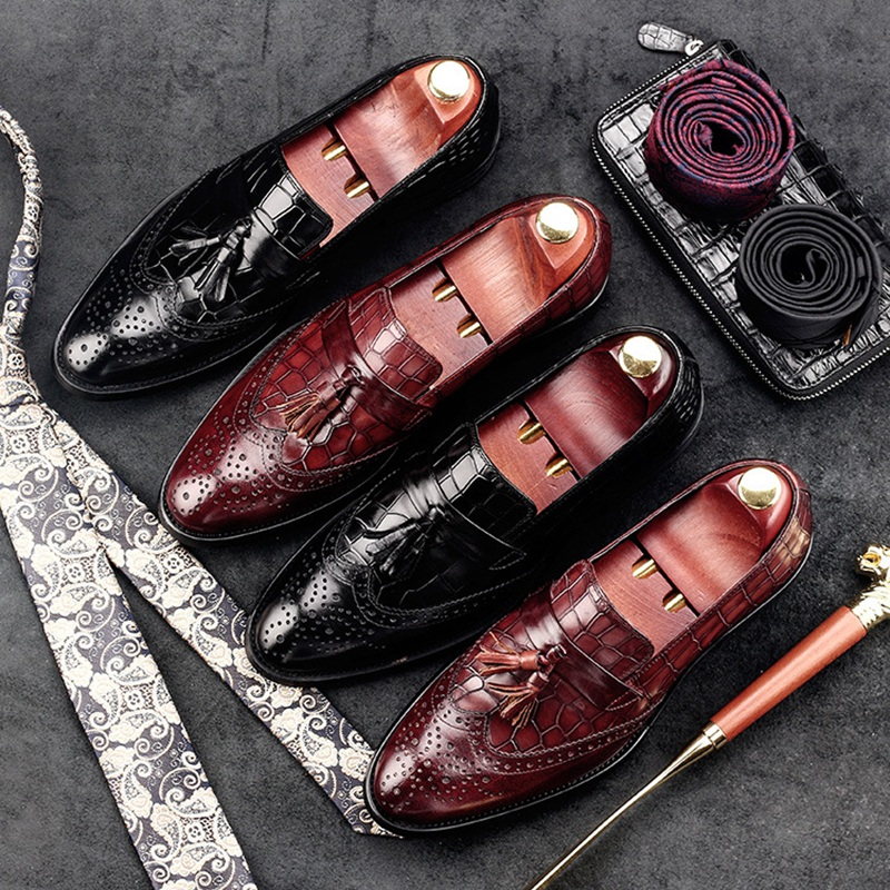 Vintage Wing Tip Tassels Man Carved Brogue Shoes Genuine Leather Formal Dress Oxfords Round Toe Slip on Bridal Men's Flats GD41 remote control rfid reader access control system full kit set electric strike door lock power supply k2000