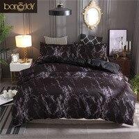 Bonenjoy Bedding Set Queen Size Black Marble Printed Reactive ropa de cama Bed Set Single Linens For Adult Double Bedding Sets