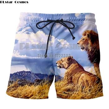 PLstar Cosmos Brand Men Casual Shorts Boardshorts Men 3d Print Lion Beach Short Pants Funny Trousers Sportswear men lion print high low blouse
