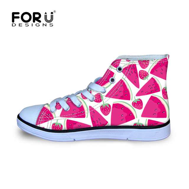 4677278de8d Watermeloen Grappige Fruit-thema Canvas Schoenen voor Kids Meisjes Kawaii  Kerst Party Sneakers Lichtgewicht Hoge