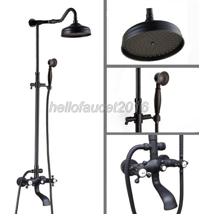 Bathroom Shower Rain Faucet Set Black Oil Rubbed Bronze 8 inch Shower Head Wall Mounted Bathtub Mixer Tap + Hand Shower lhg603 bathroom accessory wall mounted black oil rubbed bronze toothbrush holder with two ceramic cups wba451