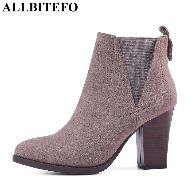ALLBITEFO full genuine leather pointed toe thick heel women boots fashion brand high heels platform ankle boots ladies shoes стоимость