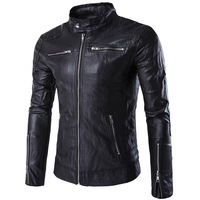 2016 Autumn Leather Jacket Men Slim Short Stand Collar Jaqueta Couro Bomber Jacket Faux Leather Moto