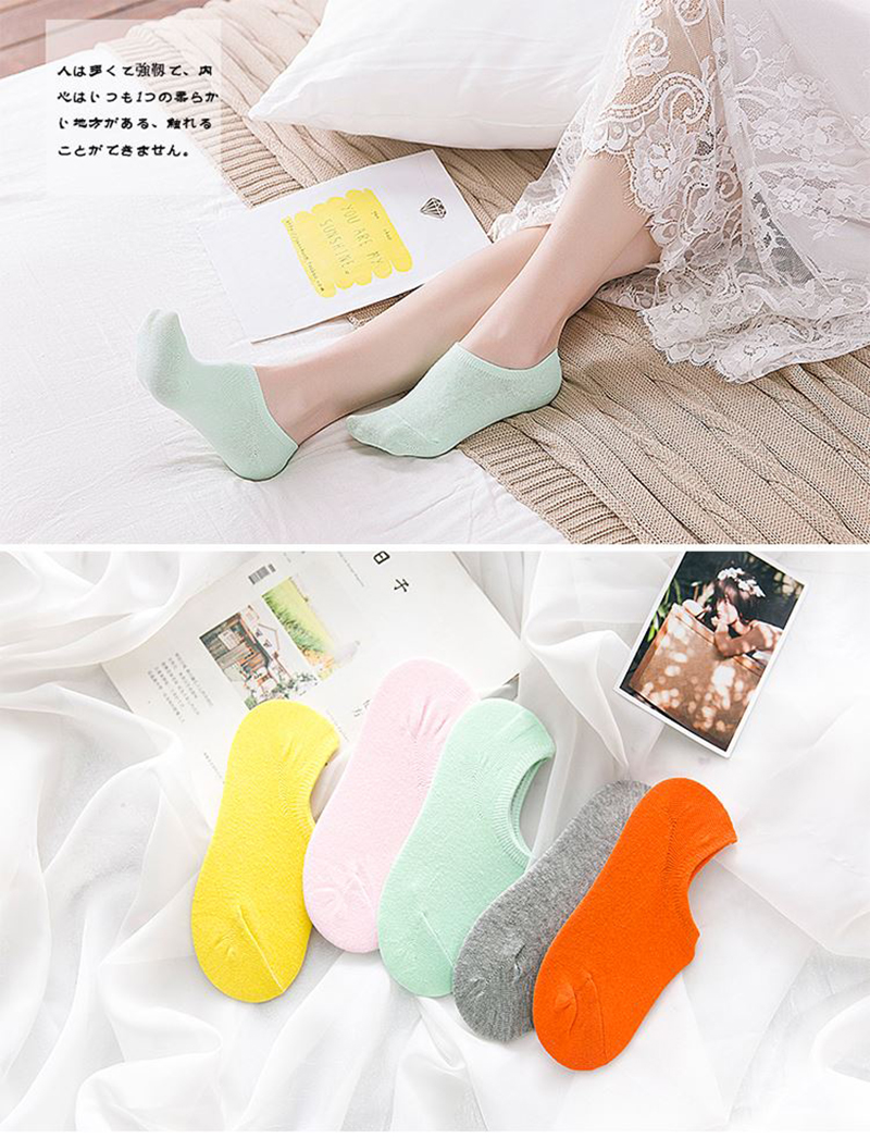 Comfortable cartoon ankle invisible women socks cute female men Ladies bamboo no show socks Hosiery Female 5pairs/lot 5
