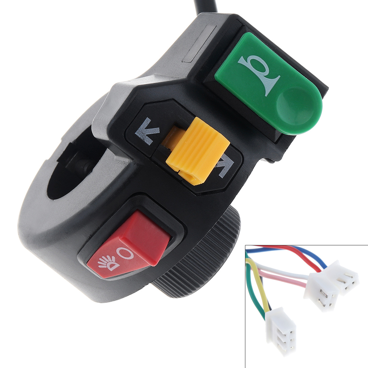 3 in 1 Motorcycle <font><b>Switch</b></font> Electric <font><b>Bike</b></font> Scooter ATV Quad Light Turn Signal Horn ON/OFF Button for 22mm Dia <font><b>Handlebars</b></font> image