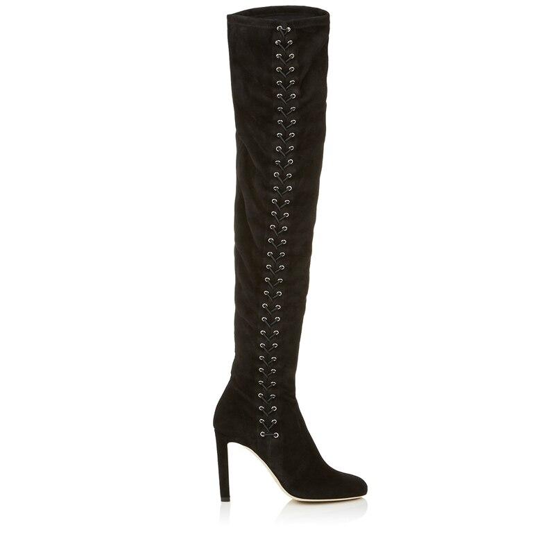 2018 Mujeres Largo Tacones Altas Negro Picture Overknee De Estiramiento Mujer Punta Zapatos Fino Botas Elástico Remaches Las Altos As AqrA4gw