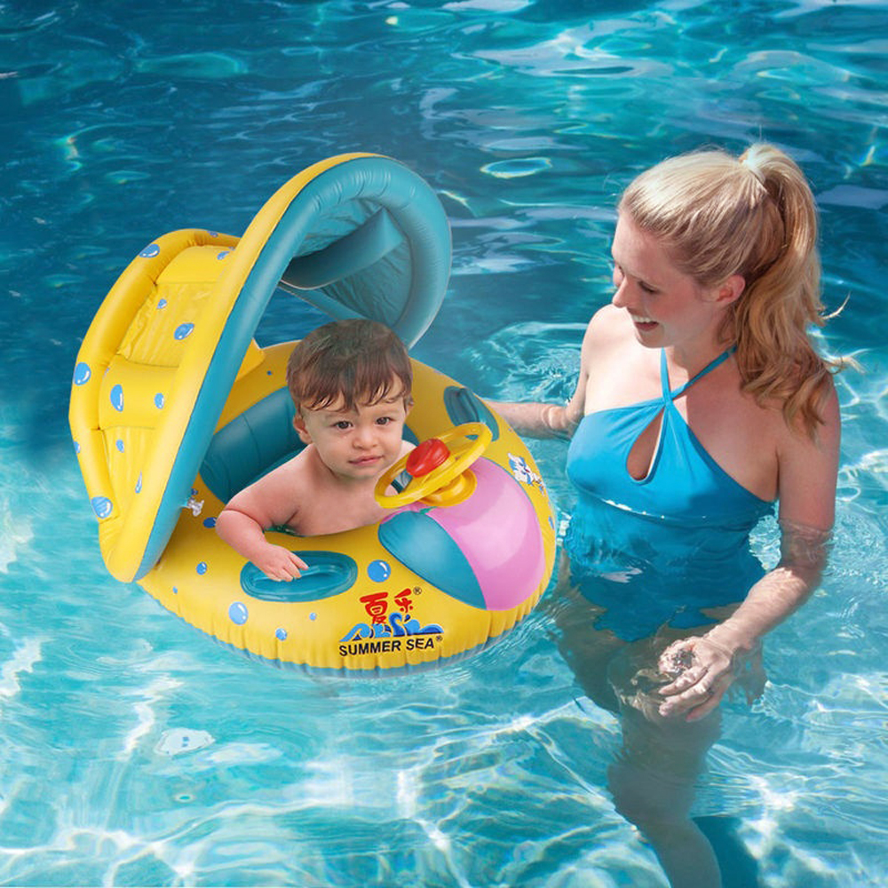 Baby Kids Summer Swimming Pool Swimming Ring Inflatable Swan Swim Float Water Fun Pool Toys Swim Ring Seat Boat Water Sport
