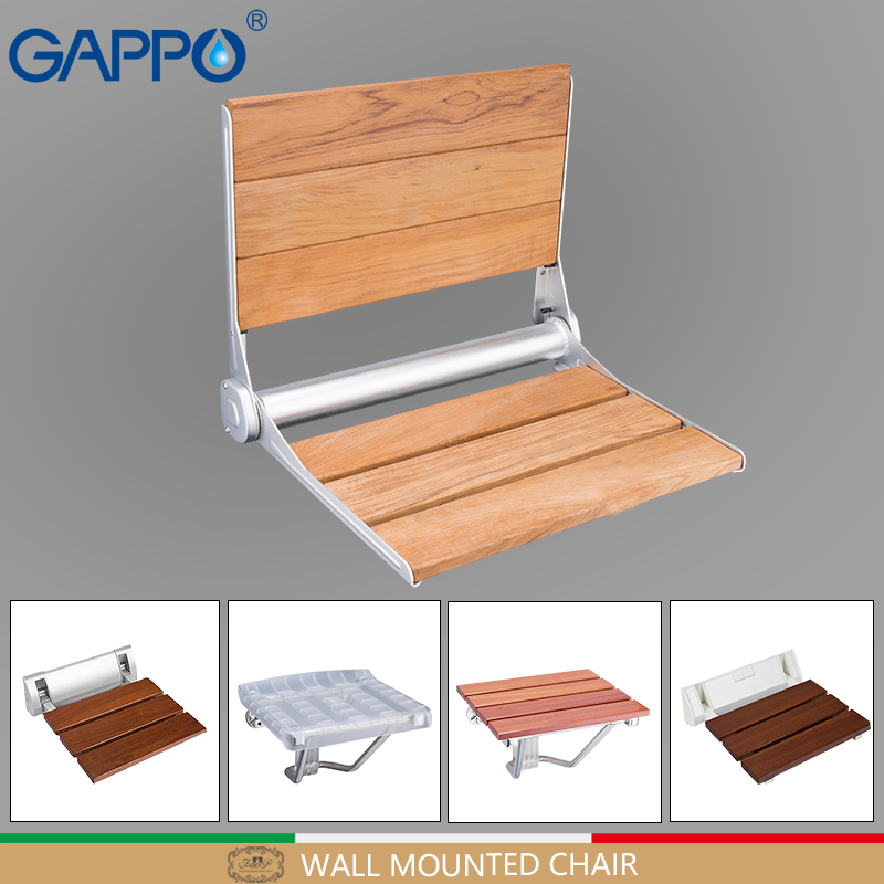 GAPPO wall mounted shower seats folding chair seat wooden bathroom chair seat bath shower chair shower