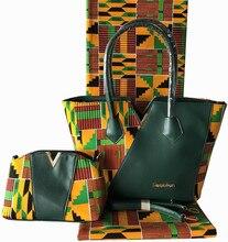 High quality African hollandais wax with 2pcs women handbag, 6 yards Ankara fabric