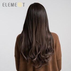 Image 2 - אלמנט ארוך סינטטי טבעי גל פאה עם שוליים צד כותרת טבעית Glueless Ombre שיער החלפת מסיבת פאות עבור נשים