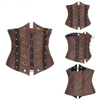 Abbille 2018 Brown Synthetic Leather Lace Up Sexy Corset Hollow Out Underbust Corset Top Corsets And Bustiers Plus Size XXL Hot
