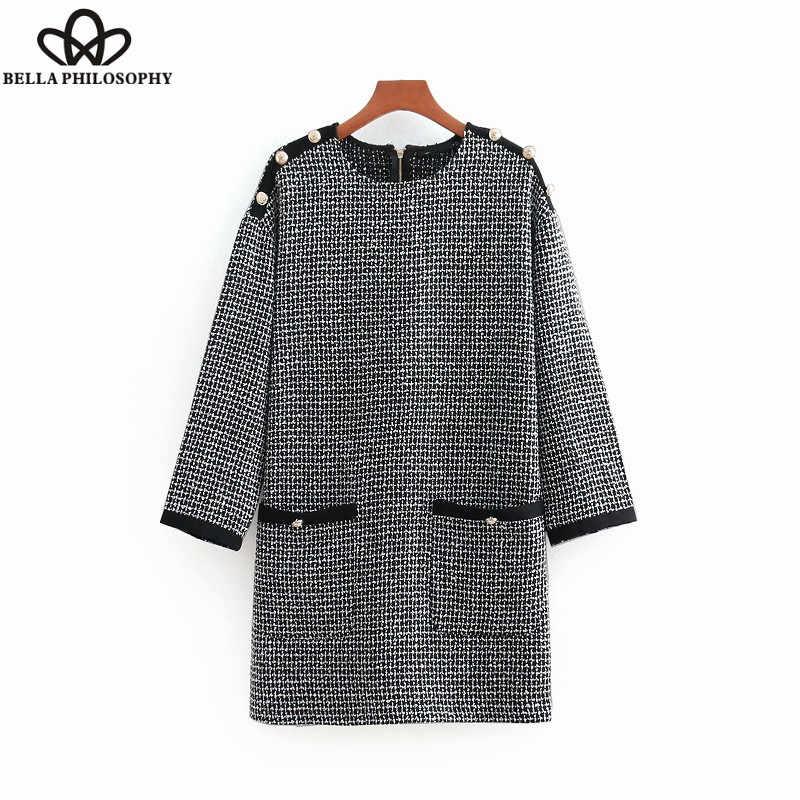 2b319e79d2e5 Wonder 2018 otoño vintage tres trimestre manga botones decoración tweed  mini vestido elegante vestidos vestido ocasional