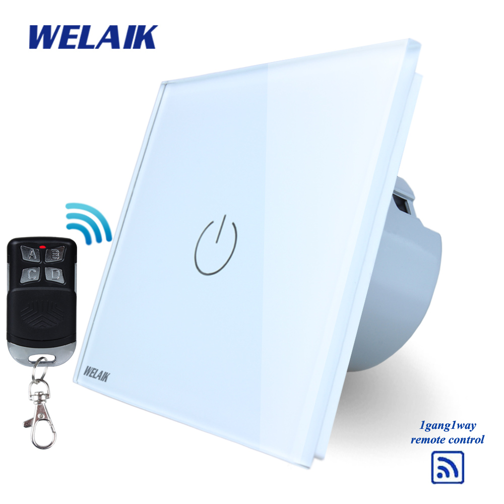 WELAIK Glass Panel Switch White Wall Switch EU remote control Touch Switch Screen Light Switch 1gang1way AC110~250V A1913W/BR01 mvava 3 gang 1 way eu white crystal glass panel wall touch switch wireless remote touch screen light switch with led indicator