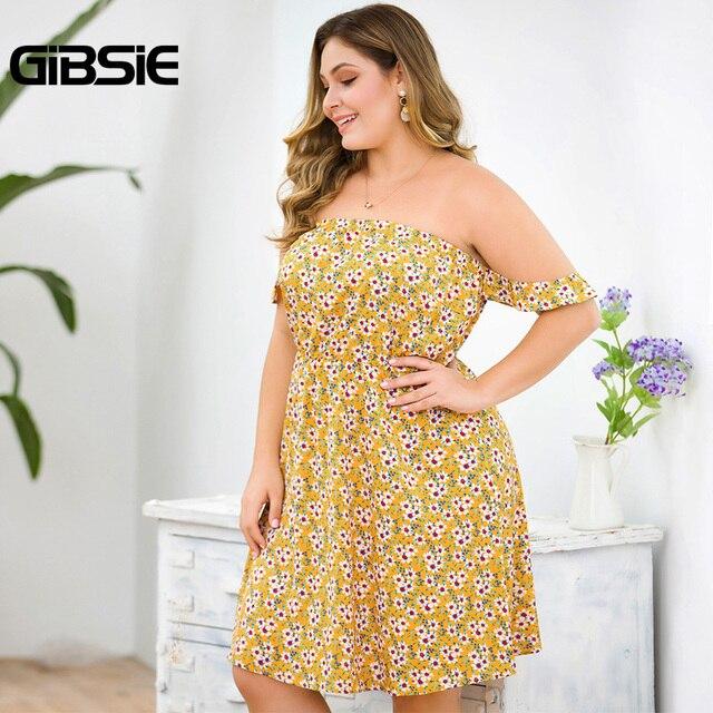 GIBSIE Plus Size Floral Print Boho Off Shoulder Dress Women Summer Beach Style Holiday Dress Ladies High Waist A Line Dress 4