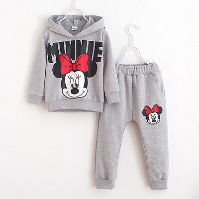 2pcs Baby Girls Kids Minnie Mouse Clothes Set Long Sleeve Hooded Coat Pants Oufits Clothes Set 2-7y #5