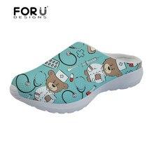 FORUDESIGNS/сандалии; женские летние туфли на плоской подошве с рисунком медведя; повседневная женская обувь; удобные мягкие пляжные сандалии; Mujer
