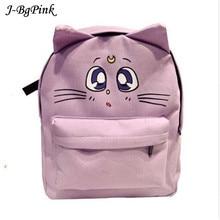 Casual Women Backpack Cat Ear Canvas Printing Backpacks for Teenage Girls Female