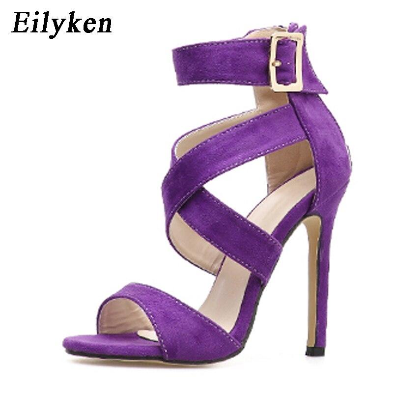Eilyken New Sexy Yellow Purple Women Sandals Pumps Open Toe Buckle Strap Sandals Women Stiletto Fashion Sandals Shoes