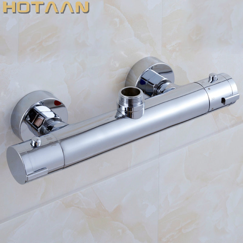 Free Shipping Wall Mounted Two Handle Thermostatic Shower Faucet Thermostatic Mixer , Shower Taps Chrome Finish,YT-5311-A modern thermostatic shower mixer faucet wall mounted temperature control handheld tub shower faucet chrome finish