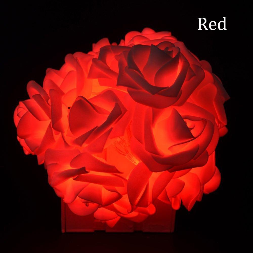 2M 20LED Batteridrevet Holiday Light LED Rose Flower Fairy String - Ferie belysning - Bilde 6