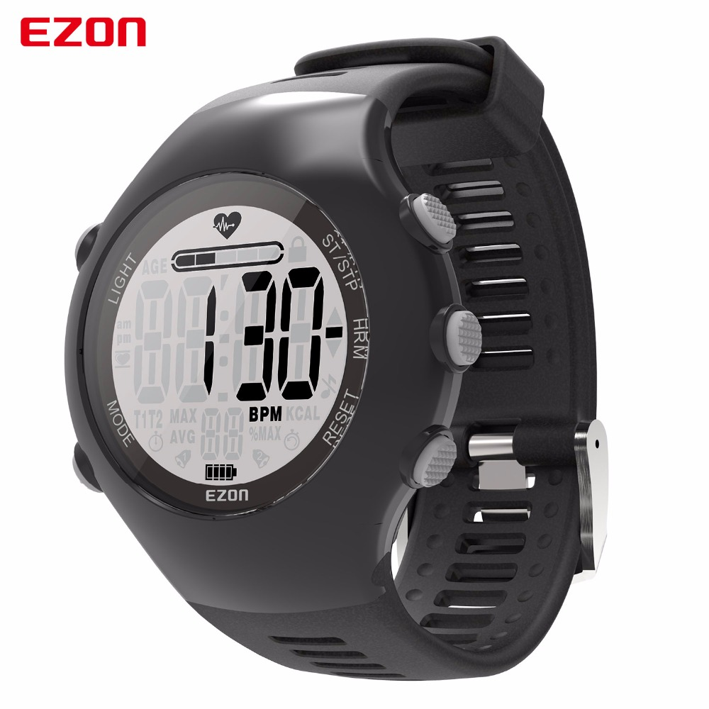 Fashion Optical Sensor Heart Rate Clock With Stop Watch Pedometer Calories 50M Waterproof Men Sports Digital Watch Black Ezon часы pomi doro t5012 k