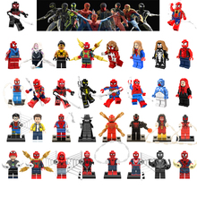 Pour Legoing Spiderman Super Héros Thor Iron Man Loki Deadpool Venin Araignée Hulk Batman Avengers Blocs de Construction Jouets Figure(China)