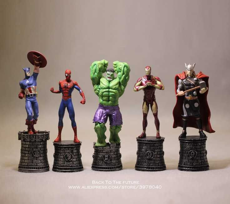 Disney Marvel Avengers Iron Man Spider Man 14cm 5pcs/set Action Figure Anime Decoration Collection Figurine Toys model children