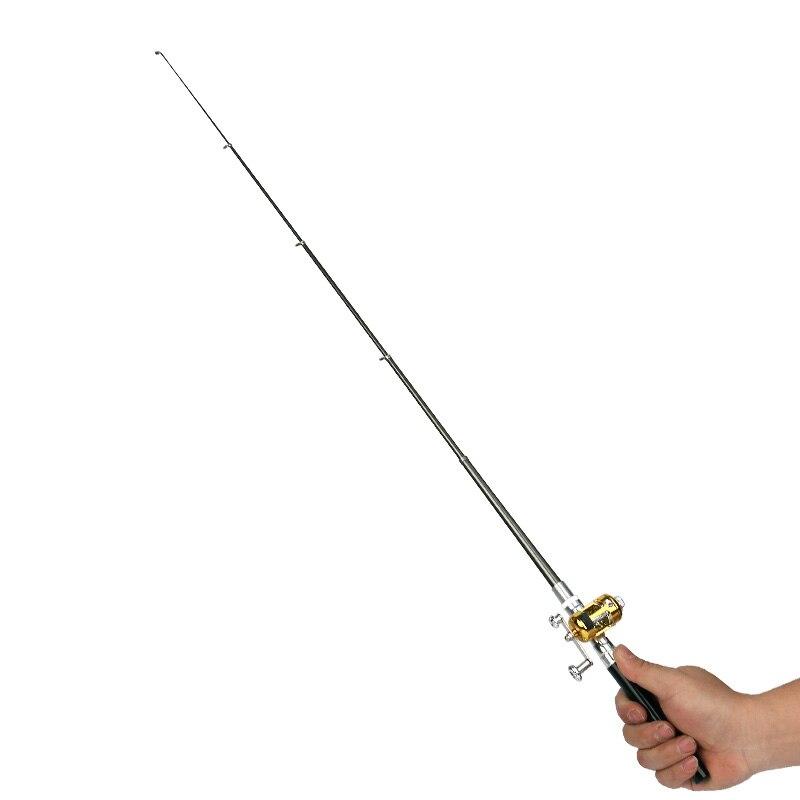 Купить с кэшбэком Mini Portable pen fishing rod Aluminum alloy color ice fishing rod Children gifts Pocket fishing rod Spinning Bait Casting Rod