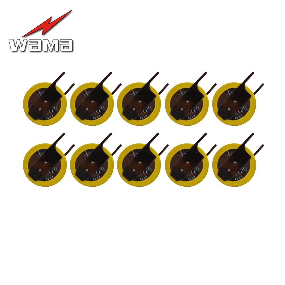 10 pçs/lote Wama CR1220 Pés de Solda Botão Celular Baterias 3V 0 graus 2 Soldagem Solda Pinos Assista Acessórios 1220 Da bateria da Moeda
