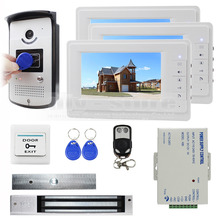 DIYSECUR 7 inch Monitor Video Door Phone Doorbell 700 TV Line Camera 280kg Magnetic Lock RFID Keyfobs 1v3