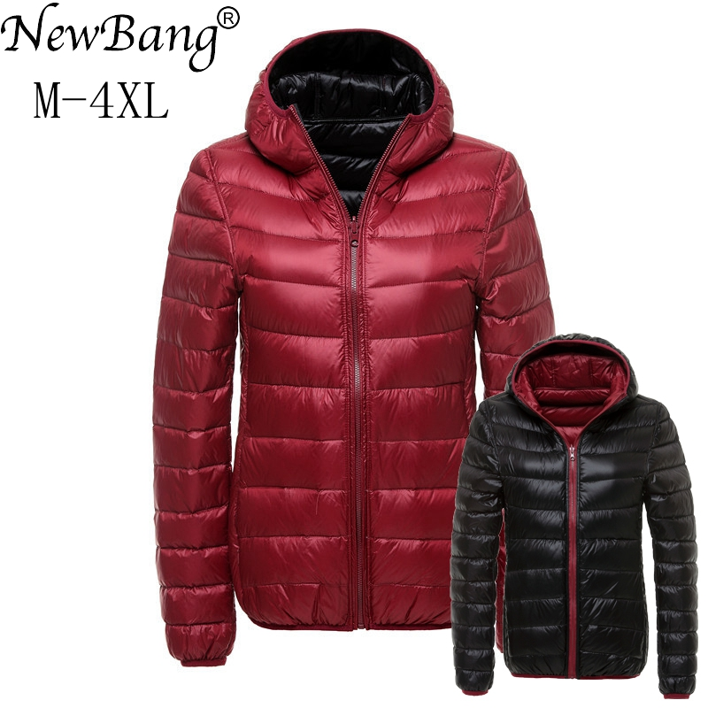 NewBang   Down     Coats   Women Hooded Ultra Light   Down   Jacket With Carry Bag Travel Double Side Reversible Jackets Plus Windbreaker