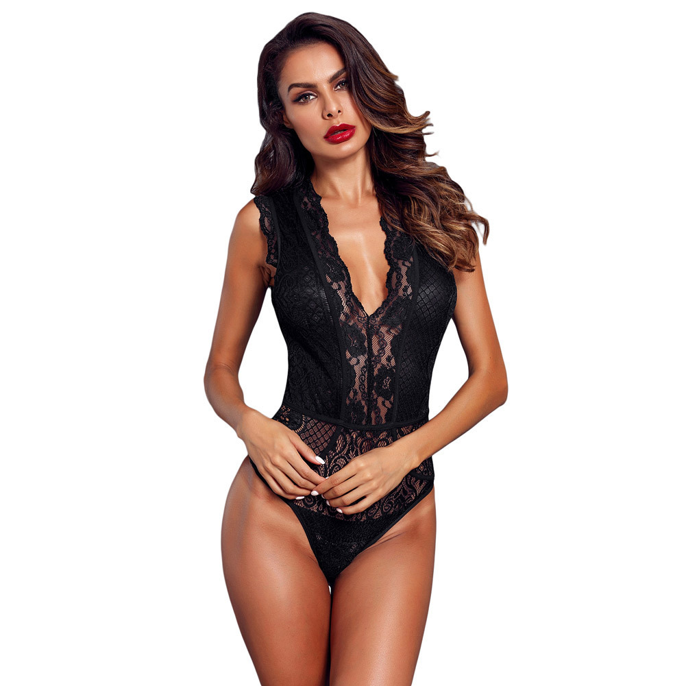 JIEZuoFang Sexy Rompers Women Black V Neck Sleeveless Hollow-out Lace Bodysuits Body Tops Overalls One Pieces Jumpsuits