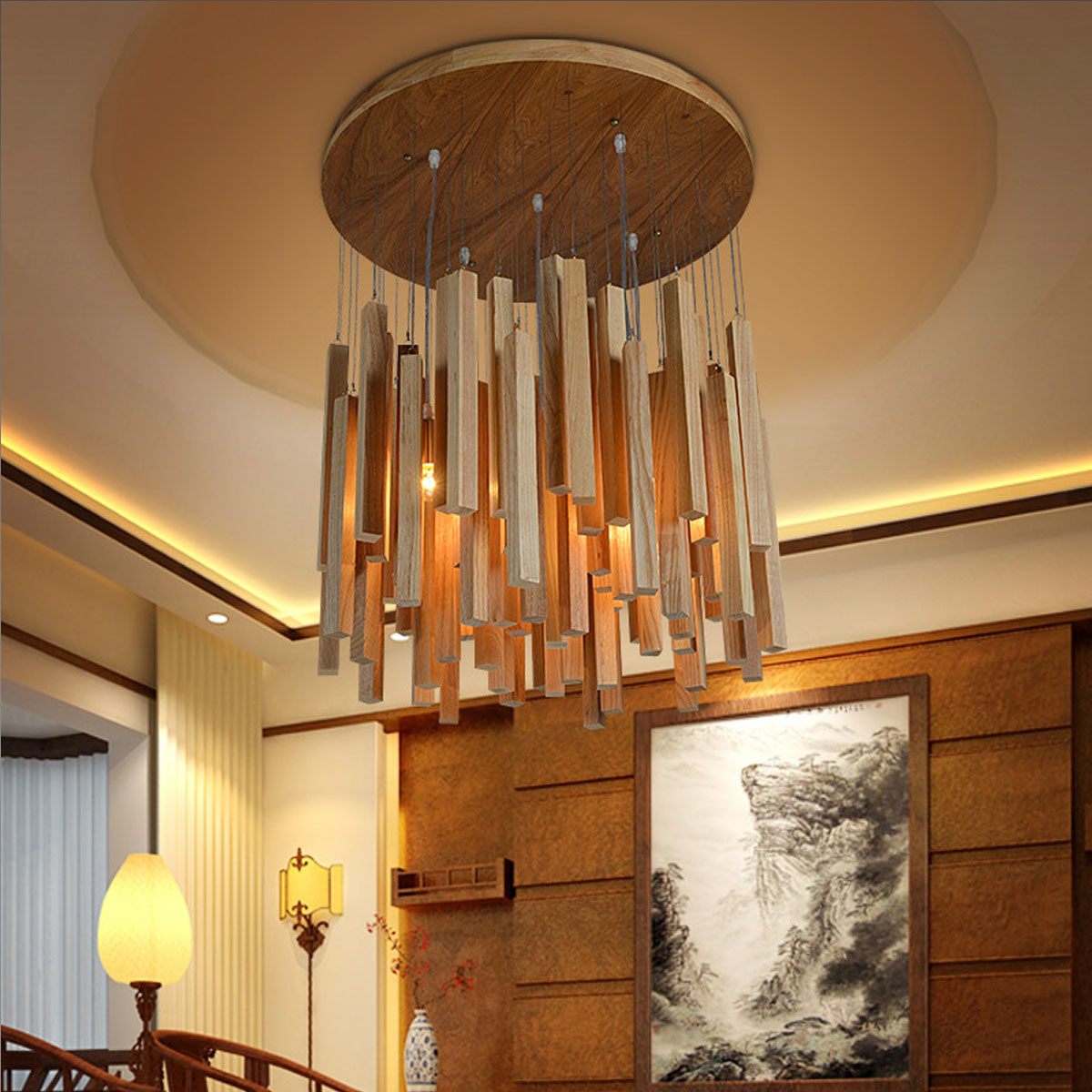 Modern Chandelier Solid Natural Batten Wood Art Creative Dining Room Lighting Decor E27 Max Wattage 40W In Chandeliers From Lights On