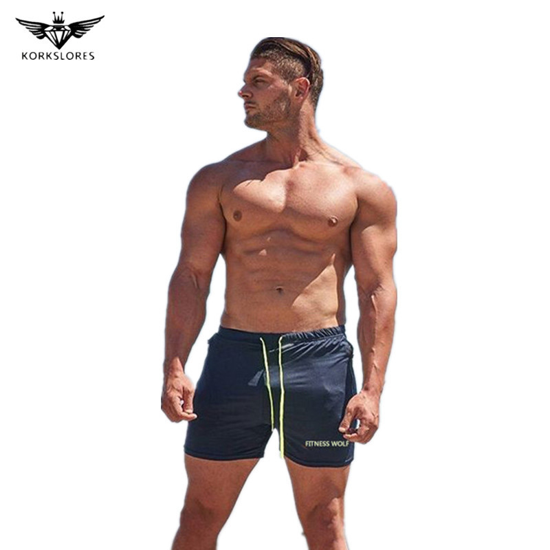 Mens new fitness shorts gyms mens Crossfit Quick-drying leica Bodybuilding Joggers short pants Slim fit Sportswear clothing