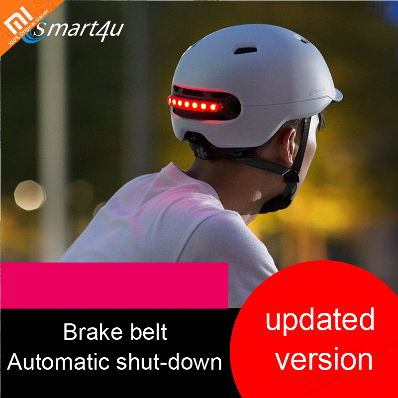 Xiaomi Leading Version Smart Flash Helmets Automatic Brake Warning IPX4 Waterproof For Riding Scooter Bicycle Mountain Road