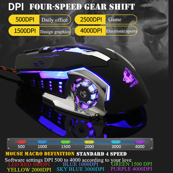 Ratón para juegos por cable profesional, 6 botones, 4000 DPI, ratón óptico USB con LED, juego inalámbrico, silencioso para PC y portátil 2