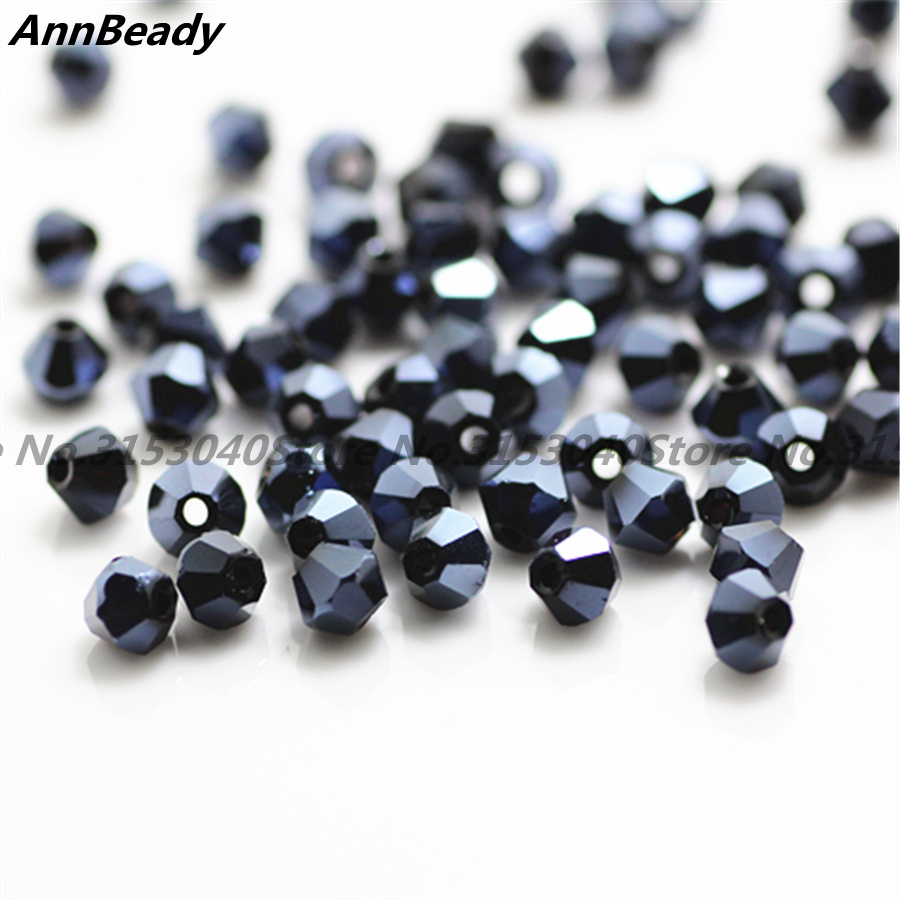 100pcs Ink Blue Color 4mm Bicone Crystal Beads Glass Beads Loose Spacer Beads DIY Jewelry Making