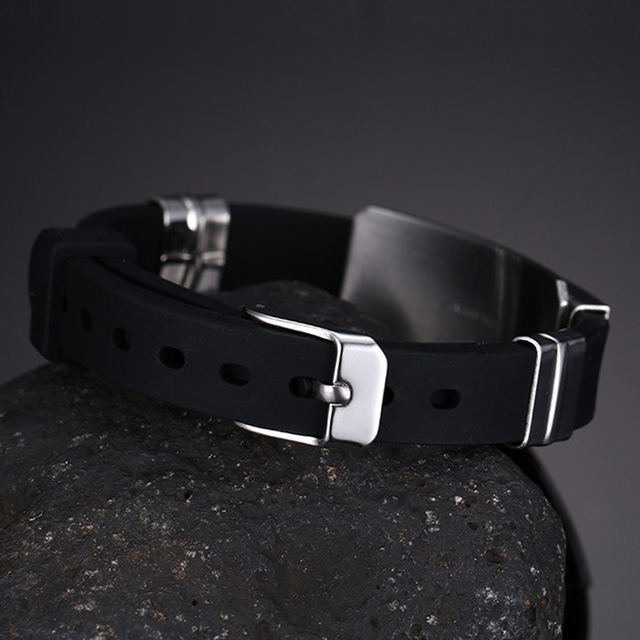 12 Constellation Black Rubber Silicone Bracelet for Men Stainless Steel Wristband Bangles Free Gift