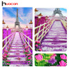 Huacan Special Shaped Eiffel Tower Diamond Embroidery Wall Art Decor Resin Rhinestone Pasted Diamond Painting Mosaic