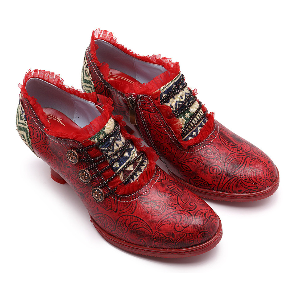 Wine Glasses Women Pumps European Vintage Hand Genuine Leather Shoes Embossed Stitching Spanish Style Four Seasons Women's Shoes (15)