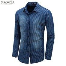 S.ROMZA Men's Denim Shirt Striped Long Sleeve Shirt Lapel Regular Button Cardigan Casual Jeans Outerwear EUR M-2XL