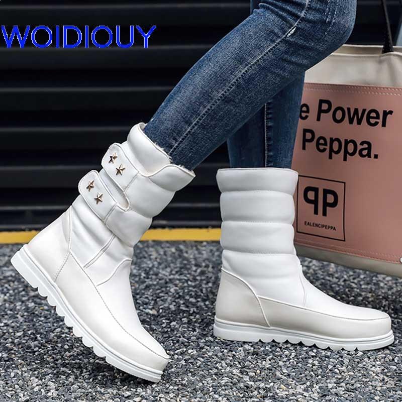 Female Snow Boots Winter women flat waterproof Shoes Botas Mujer femininas de inverno Black White Women
