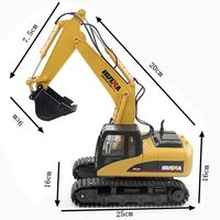 HuiNa Toys 1350 15 Channel 2.4G 1/12 RC Excavator Charging 1:12 RC Car With Battery RTG 3