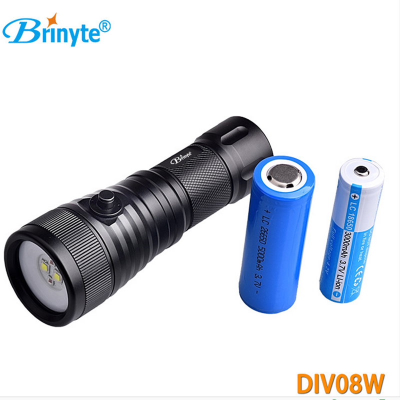 Diving Light 1500 LM CREE XM-L2 LED Dive video Flashlight Underwater Lamp 200m 18650 Battery Diver Torch Brinyte DIV08W Handheld