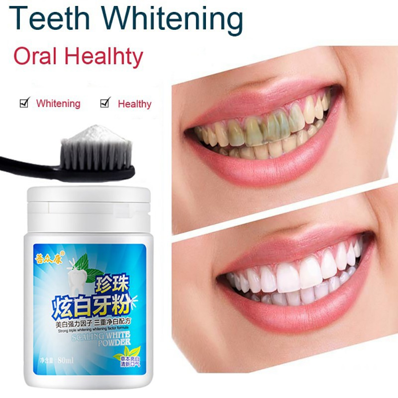 Oral Hygien Teeth Whitening Tooth Wash Powder Removal Yellow Tooth Stains Dirt Smoke Stains Perfect Smile blanchiment des dents
