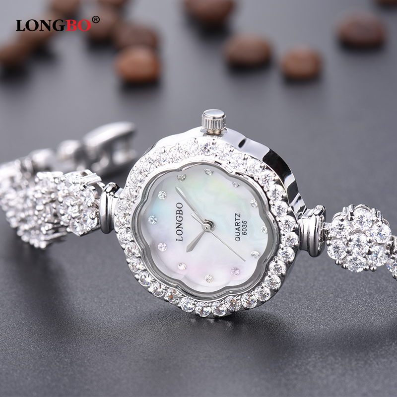 Watches Women LONGBO Brand Luxury Crystal Fashion Casual Gold Bracelet Shell Dial Waterproof Quartz Watch Relogio Feminino 6035 natural brand new gold ceramic watches shell white dial water resistant rose crystal ladies bracelet watch fw830v free gift box