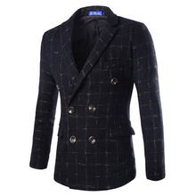 Men Good Quality New Pattern Europe Style Fashion Wool Blend Double Breasted Tartan Men's Outwear Coat Jacket Suit Blazer