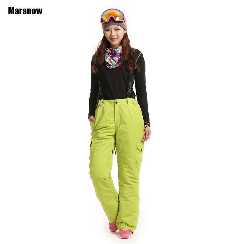 цены Thicken -30 degree Snowboarding Trousers with strap female New Outdoor Sport Winter waterproof Hiking Snow ski pants for women